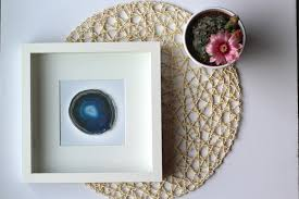 geode box framed agate slice geode home decor black or white