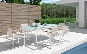White Glass Patio Table Sago Outdoor White Dining Table Set