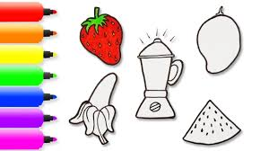how to draw fruit juicer and fruits coloring pages for kids art