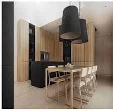suspension 3 les pour cuisine cuisine bois clair épurée chic et design les éléments noirs