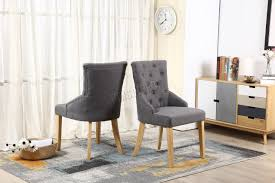 Linen Dining Chair Foxhunter New Linen Fabric Dining Chairs Scoop Button Back Office