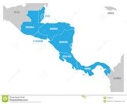 Central America Map by Map Of Central America Region With Blue Highlighted Central