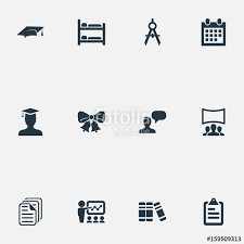 vector illustration set of simple education icons elements