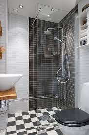 affordable beige small bathroom tile shower ideas with black