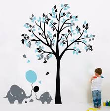 L46 Elephant Balloon Tree Wall Sticker Vinyl Decal Kids Nursery