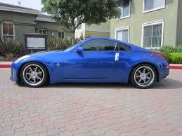 blue nissan 350z with black rims z car blog stoptech