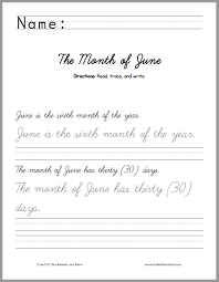 month of june handwriting practice worksheet student handouts