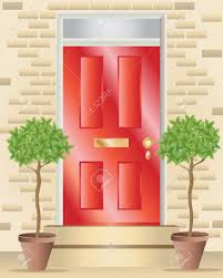 an illustration of a bright red shiny front door with brass