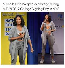 Michelle Obama Meme - michelle obama speaks onstage during mtv s 2017 college signing day