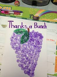 preschool thank you card for kids to make purple finger prints