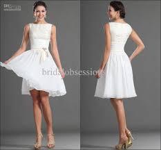 new sleeveless white knee length lace chiffon cocktail dress short