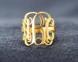 Monogrammed Silver Ring Monogram Ring Etsy