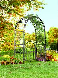 amazon com montebello decorative garden arbor trellis with gate
