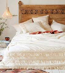 amazon com white cotton tassel duvet cover full queen 86inx90in