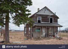 derelict abandoned farm house in michigan usa stock photo
