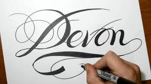 sketching the name devon in cool calligraphy script writing youtube