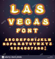 las vegas font glowing lamp letters retro alphabet with lamps