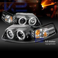 mustang projector headlights 99 04 ford mustang dual halo led projector headlights w
