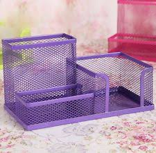 Purple Desk Organizers Space Saving Purple Metal Wire 8 Compartment Office School
