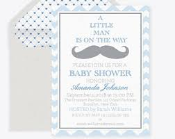 little man mustache bash invitation template 5x7 blue green