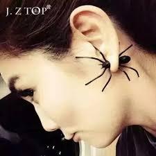 hip earrings black spider stud earrings personality hip hop piercing