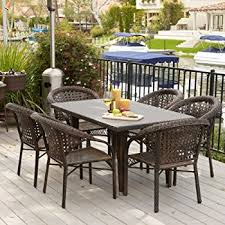 Outdoor Dining Room Furniture Amazon Com 7 Piece Outdoor Wicker Dining Set With Stacking Wicker