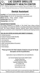 Dentist Description Dental Assistant Lac Courte Oreilles Community Health Center