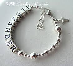 baby rosary bracelet solid sterling silver baby boy girl name baptism personalized
