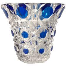 Cut Glass Bud Vase Vases Sale Signed Val St Lambert Circular Crystal Vase Blue Hand Cut To