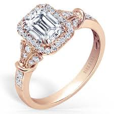 gold emerald engagement rings kirk kara lori emerald cut halo engagement ring
