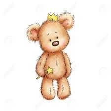 teddy in the crown on white background stock photo picture