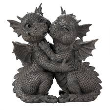 garden dragon couple statue 10 inch resin dragon statue