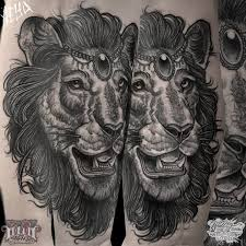 lion coverup done by alex underwood at rock n roll tattoo glasgow
