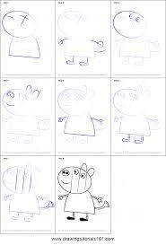 how to draw zoe zebra from peppa pig printable step by step
