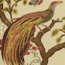 Tapestry Upholstery Fabric Discount This Is A Green Gold Red Brown And Blue Floral Bird Jacquard
