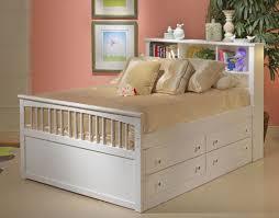 full size white mahogany wood girls bed frame with cream satin