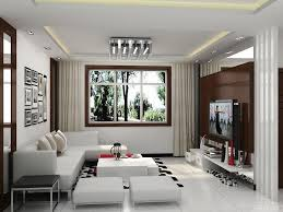 living room white bookcases black console table brown ceiling