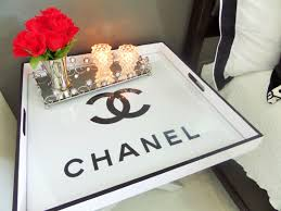 Chanel Inspired Home Decor Flea Market Flip Butler U0027s Tray Table Turned Chanel Bedside Table