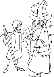 wart merlin magic coloring page wecoloringpage