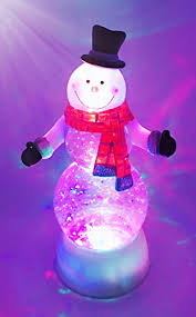 snowman swirl dome snowglobe with color changing led light up