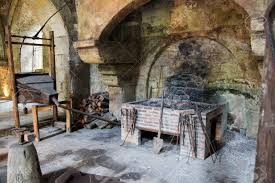 medieval stone fireplace in the abbey of fontenay burgundy