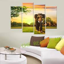 4 panels elephant canvas painting home decor wall art prints of