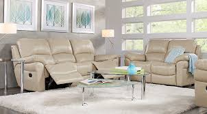 Beige Reclining Sofa Vercelli Leather 3 Pc Living Room With Reclining Sofa