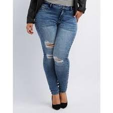 Plus Size Ripped Leggings Plus Size Corset Waist Stretch Skinny Jeans Plus Size Fashion