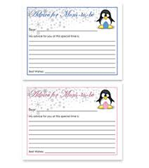 advice for the cards penguin theme free baby shower advice for card