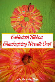 tablecloth ribbon thanksgiving wreath craft parenting patch