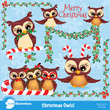 owl christmas christmas owls clipart 278 illustrations creative market