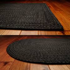 decorating black ultra durable braided rugs in oval and rectangle