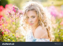 A Garden Of Flowers by Beautiful Young Girl Garden Flowers Stock Photo 227182039