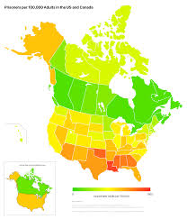 Canada Provinces Map by Adults Incarcerated Proportionally By Us State And Canadian